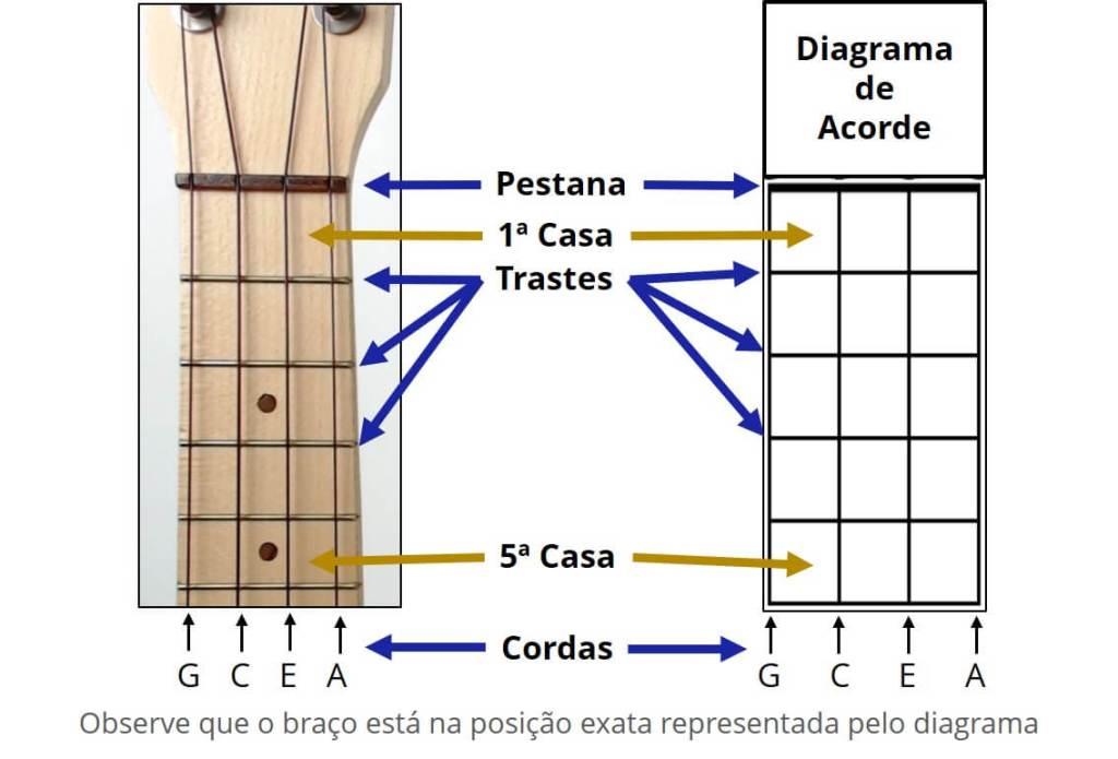 Braço do ukulele comparado ao diagrama de acorde, com setas e notas