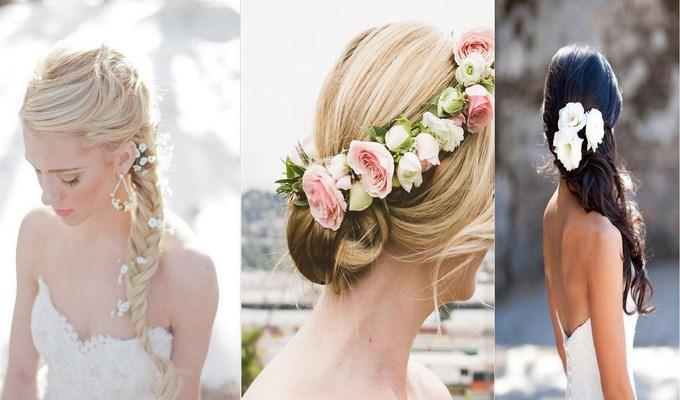 Peinados para novia con flores