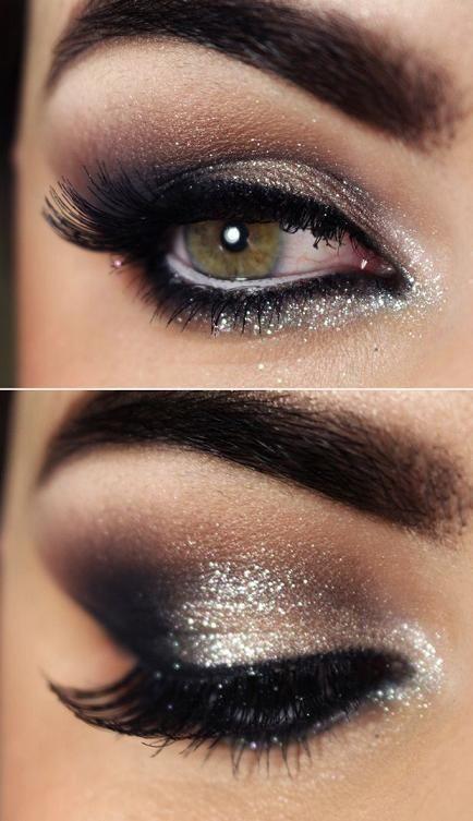 Maquillaje marrón con purpurina