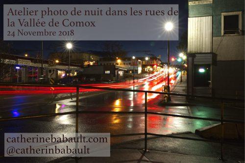 Photographie de nuit dans les rues de la Vallée de Comox
