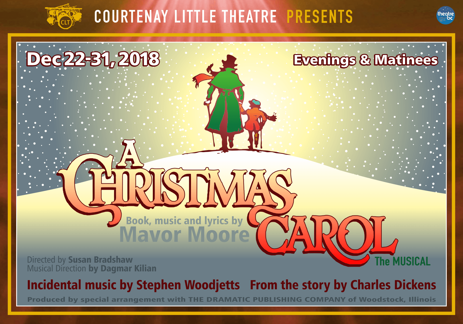 """Courtenay Little Theatre presents """"A Christmas Carol: the Musical"""" Dec. 22nd - 31st"""