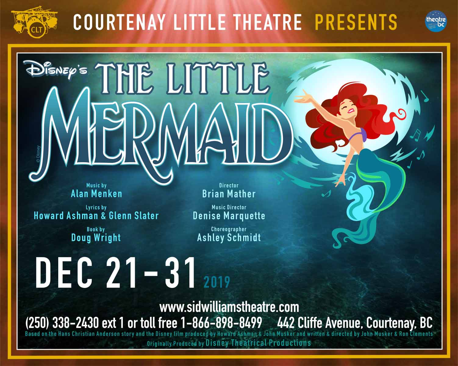 "CLT presents ""Disney's The Little Mermaid"" LIVE ONSTAGE Dec 21st - 31st"