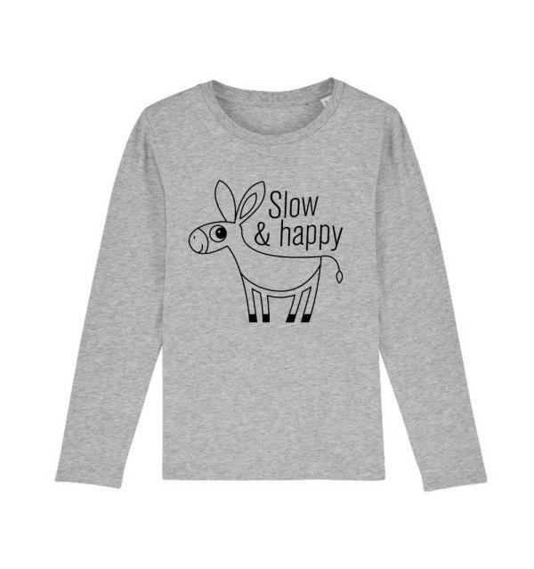 "T-shirt bambini manica lunga ""Slow And Happy"" Grigio Melange"