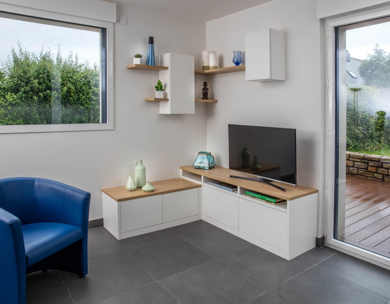 un meuble d angle pour tv et rangement