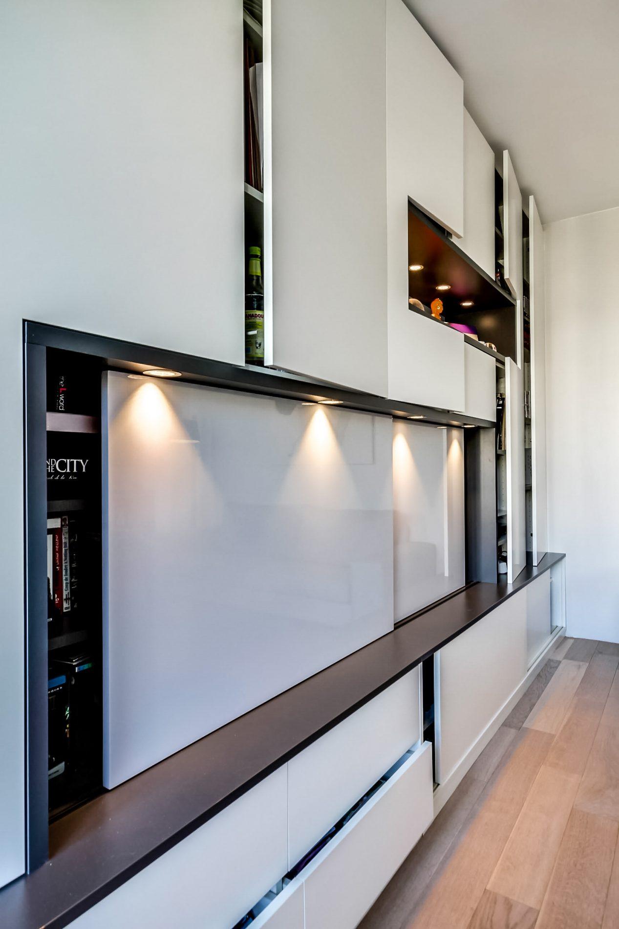 meuble tv blanc et noir design