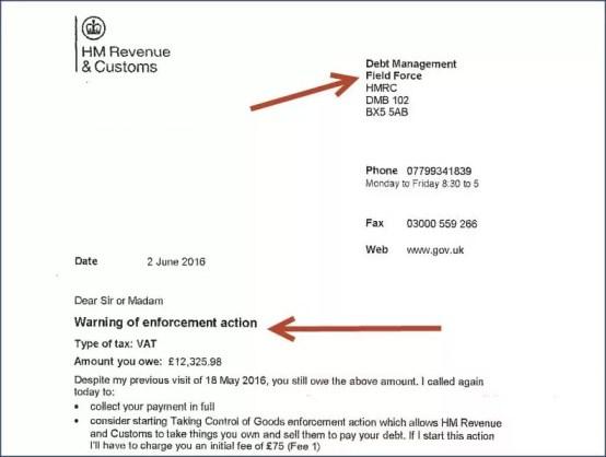 HMRC Notice of Enforcement Letter