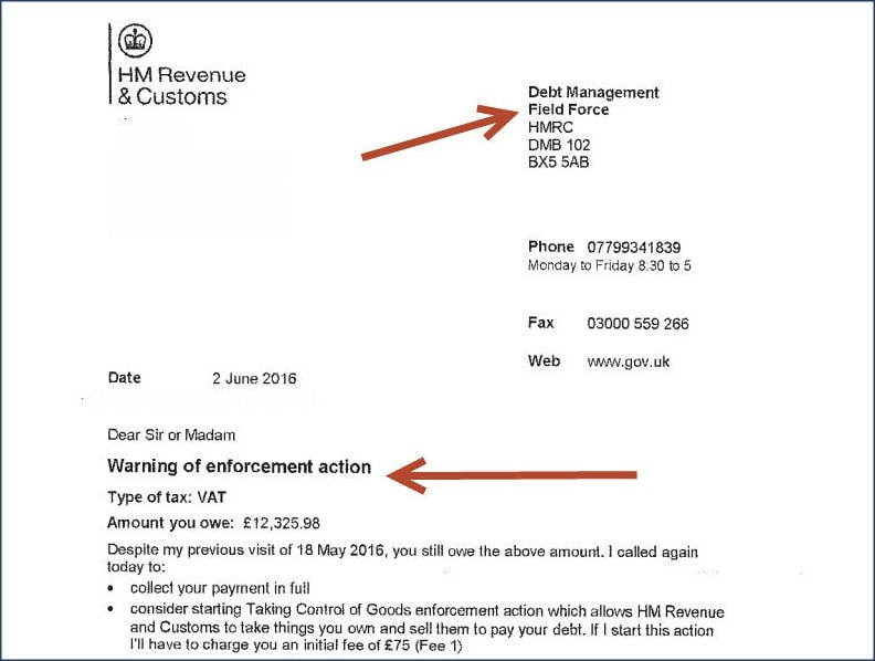 HMRC Notice of Enforcement Letter