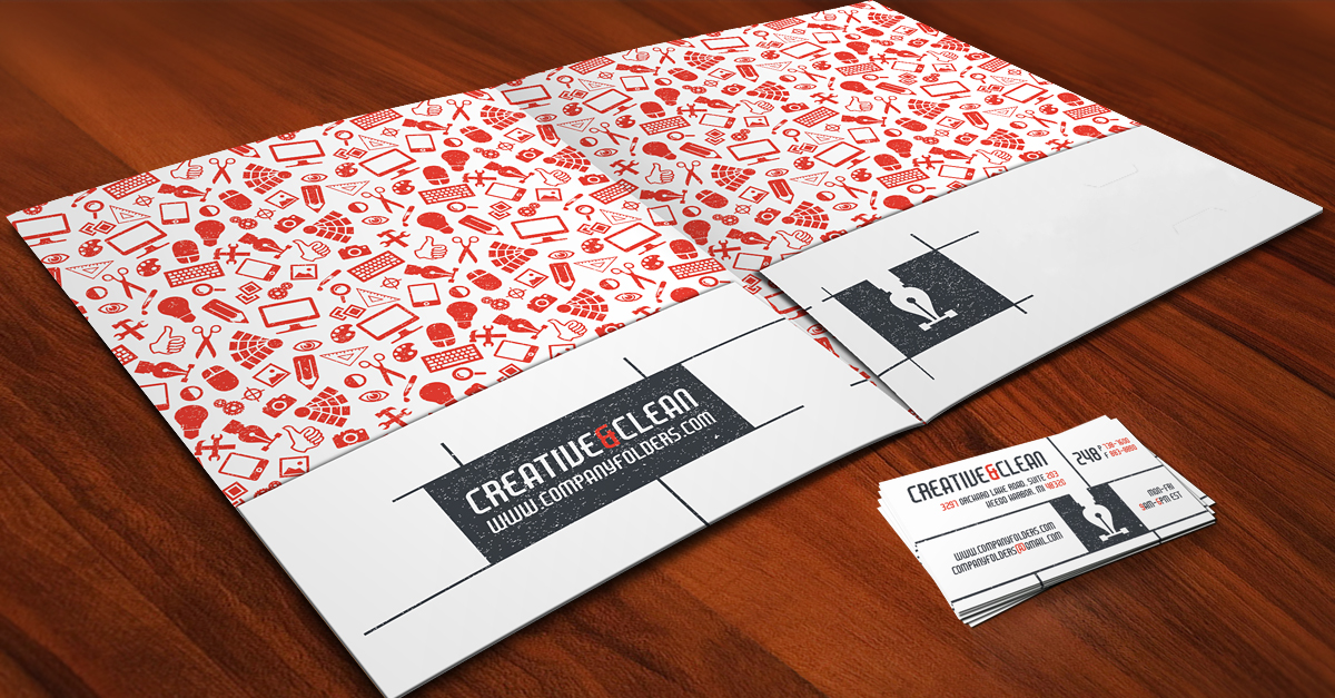 Creative  Clean Folder and Business Card  Free AI Template
