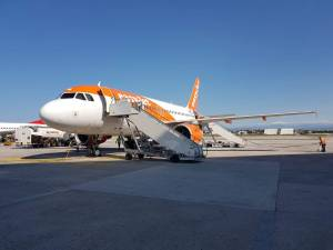 EasyJet plane on tarmac at Naples airport