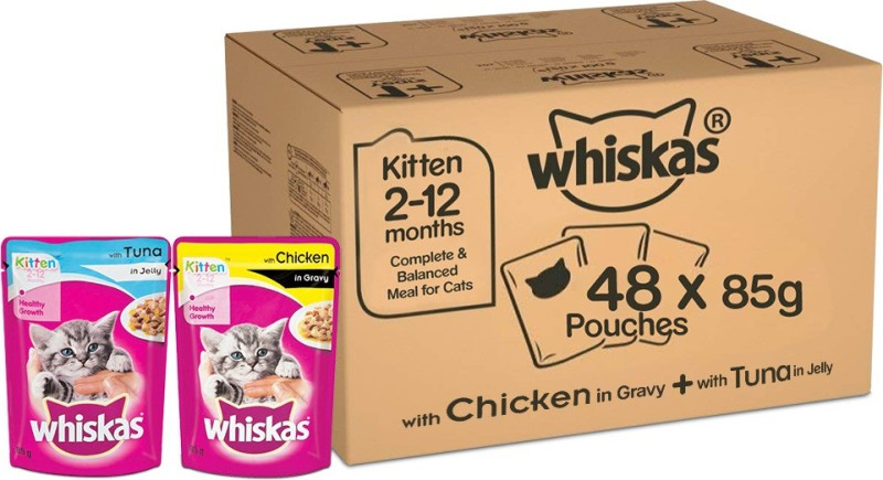 Whiskas Kitten (2-12 months) Mix Selection in Gravy, Tuna in Jelly, Chicken in Gravy, 85g (pack of 48) 4.08 kg Wet Young Cat Food