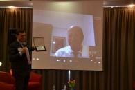 """Moncalieri (TO), 29.09.2014 - Il Presidente di IREF Italia, Mirco Comparini, consegna """"virtualmente"""" il Riconoscimento Speciale all'Avv.Franco Vicario (in collegamento dall'Australia)"""
