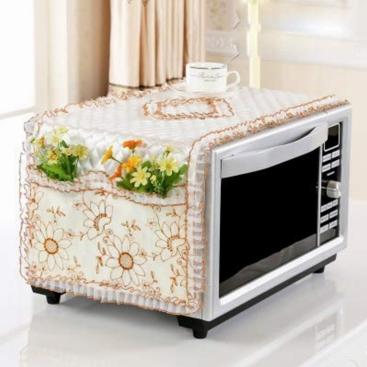lace fabric dust cover microwave case microwave oven pastoral style microwave towel protector for kitchen toaster with storage bag color aa size