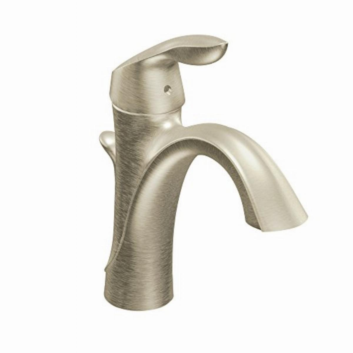 moen 6400bn eva one handle single hole bathroom sink faucet with optional deckplate and drain assembly brushed nickel