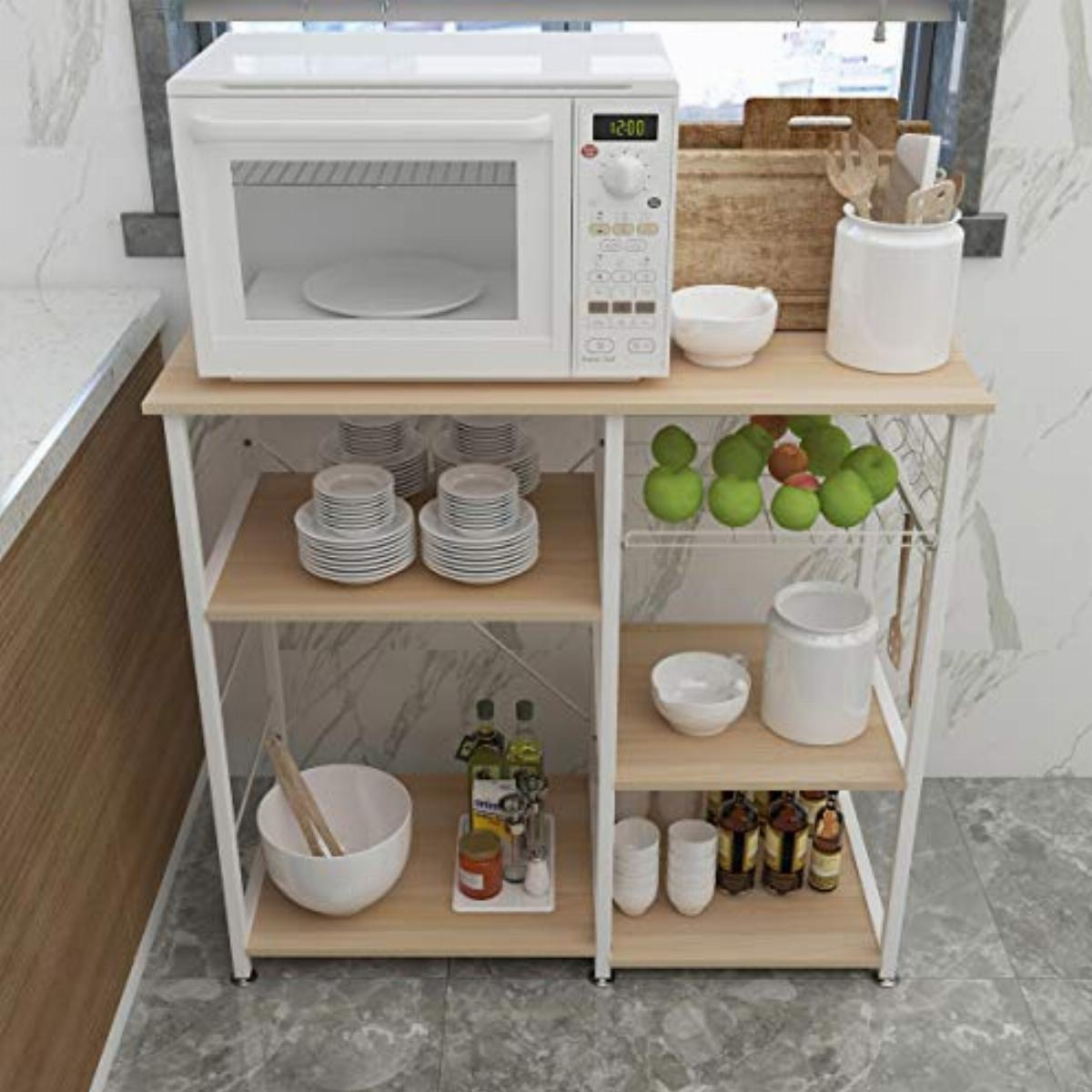 https www comparus co uk products sogesfurniture 3 tier kitchen bakers rack utility shelf microwave stand with storage and drawer storage cart workstation shelfwhite maple bhus w5s m 764459 htm