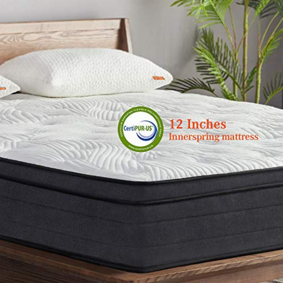 sweetnight king mattress in a box 12 inch plush pillow top gel memory foam hybrid mattress with motion isolating individually wrapped coils bed