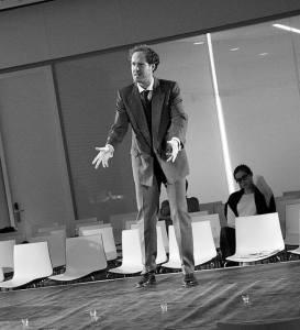 "Photo by Simon Vail. Heisenberg in ElevenOne Theatre's ""Copenhagen"""