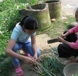 A young rural girl helping her grandmother with preparing spring onions