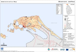 Sri Lanka: Administrative Map - District: Jaffna (as of 20 of May 2008). Map from UN Office for the Coordination of Humanitarian Affairs