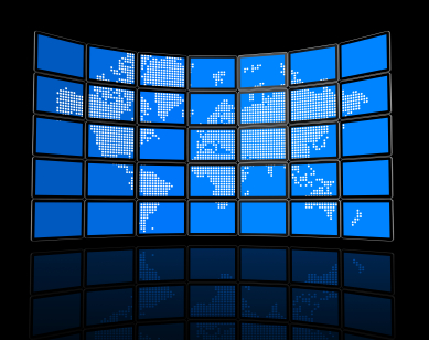 Video wall of flat tv screens with world map
