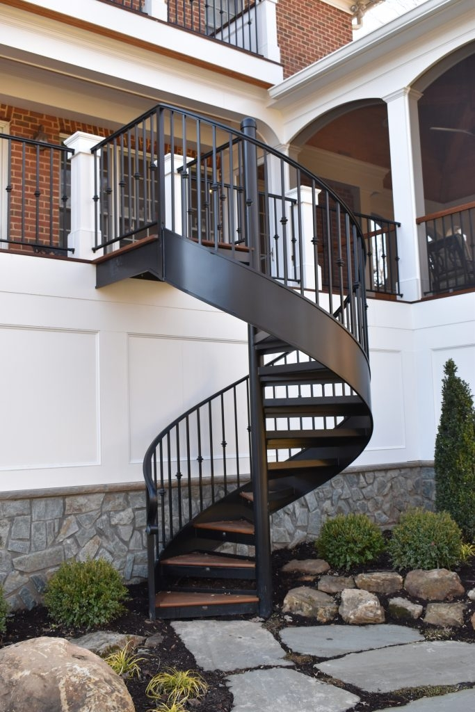 Exceptional Railing And Spiral Stair For Back Deck Compass Iron | Spiral Staircase For Outside Deck | Iron | Custom | Double Spiral | Railing | Portable Rectangular Concrete