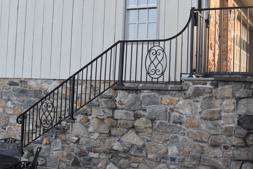 Exterior Railings Compass Iron Works   Outdoor Railings For Stone Steps   Screen Porch   Modern Outdoor   Backyard   Stone Patio   Fancy