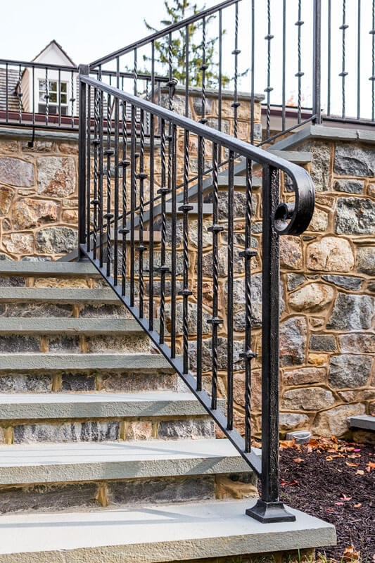 Exterior Railings Compass Iron Works | Outdoor Iron Stair Railing | Porch | Iron Pipe | Commercial | Galvanized Iron | Redwood