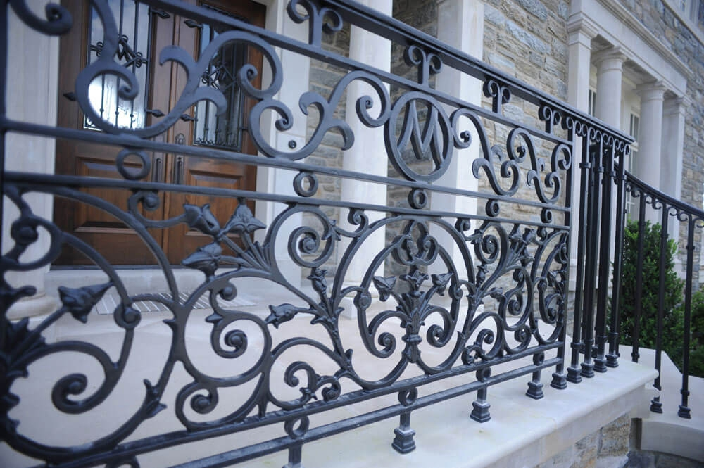 Exterior Railings Compass Iron Works | Iron Railings For Outside Steps | Front Porch | Deck Railing | Cast Iron | Railing Systems | Staircase
