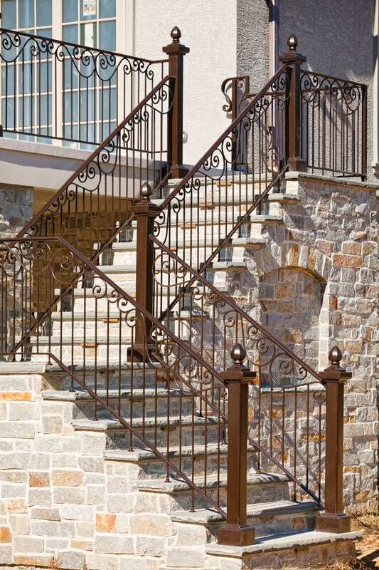 Exterior Railings Compass Iron Works | Exterior Iron Stair Railing | Steel | Exterior Ramp | Cheap | Wood | Contemporary