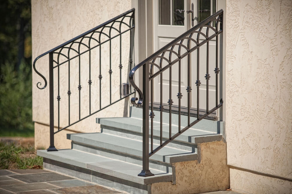 Exterior Railings Compass Iron Works | Commercial Handrails For Outdoor Steps | Simplified Building | Stair Treads | Porch | Front Porch | Custom