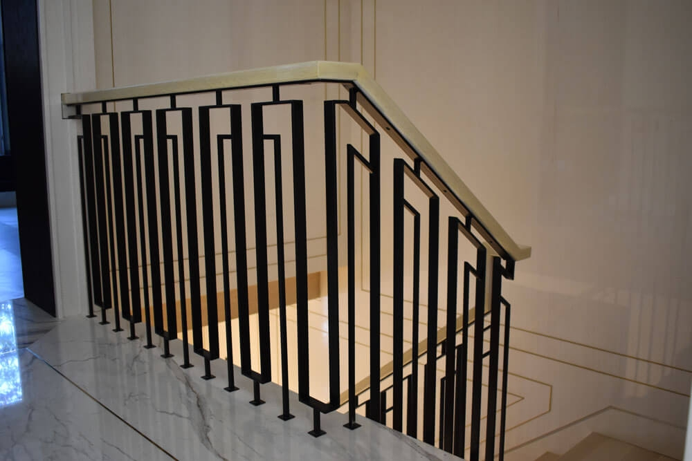Interior Railings Compass Iron Works | Modern Stair Rails Indoor | Beautiful | Unique Fancy Stair | Wooden | Industrial | Flat Bar