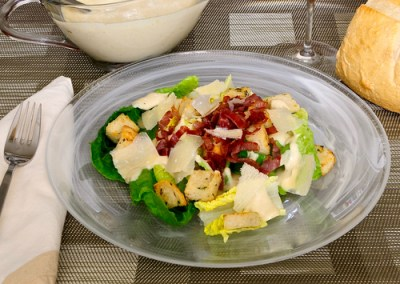 Roasted Garlic Caesar Salad with Crispy Prosciutto