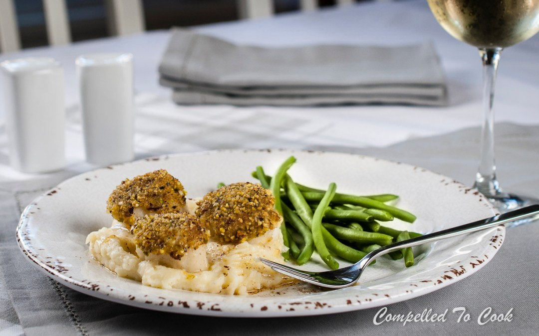 Pistachio Crusted Scallops on Brown Butter Mashed