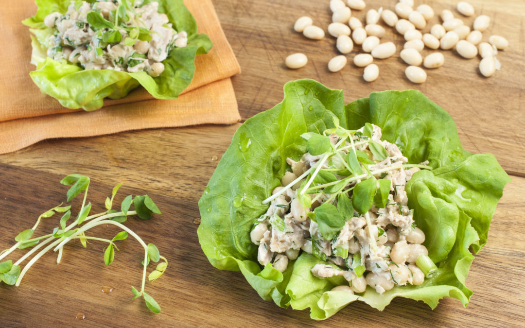 Zesty White Bean and Tuna Lettuce Wraps
