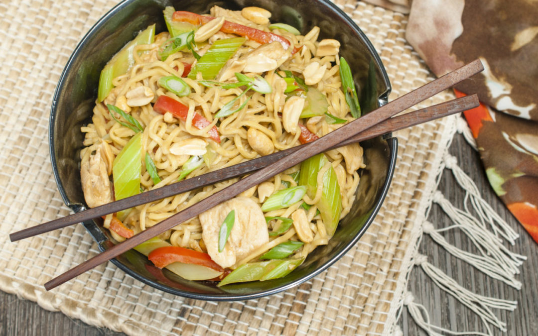 Chicken and Celery Peanut Noodles