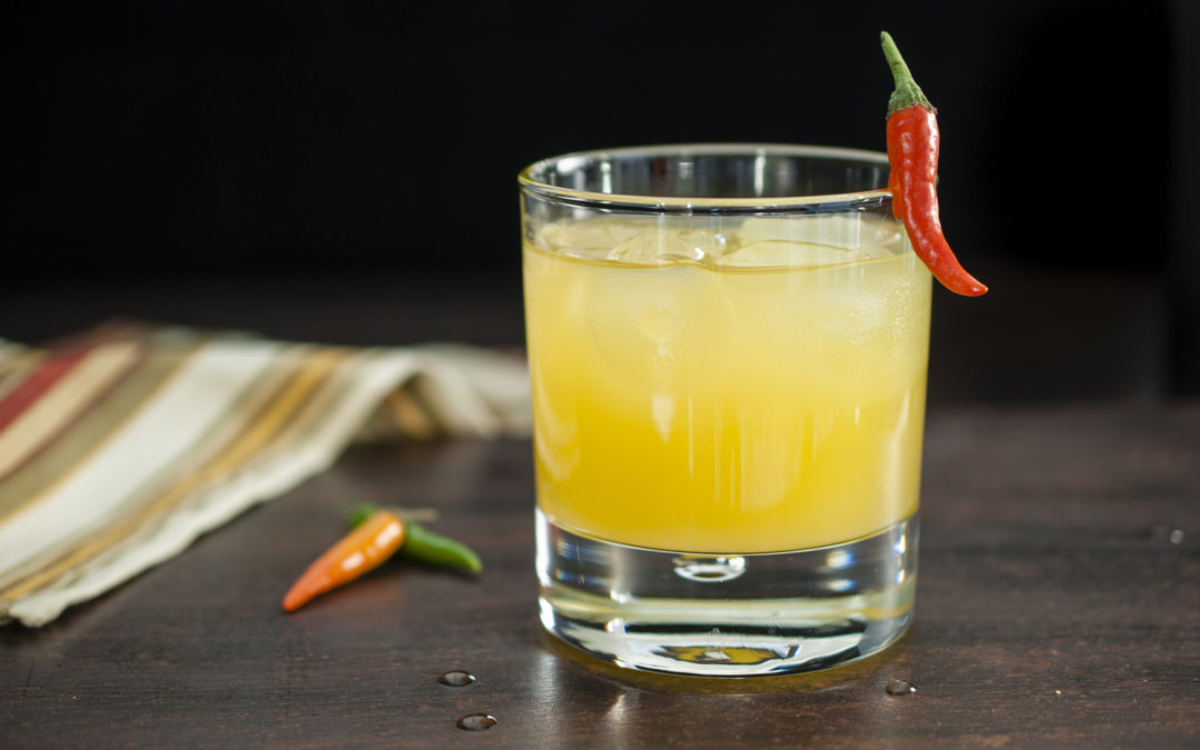The Sawback is a spicy cocktail featuring chili vodka from the Park Distillery, pineapple juice and agave nectar. A fruity and spicy drink that's surprisingly refreshing.
