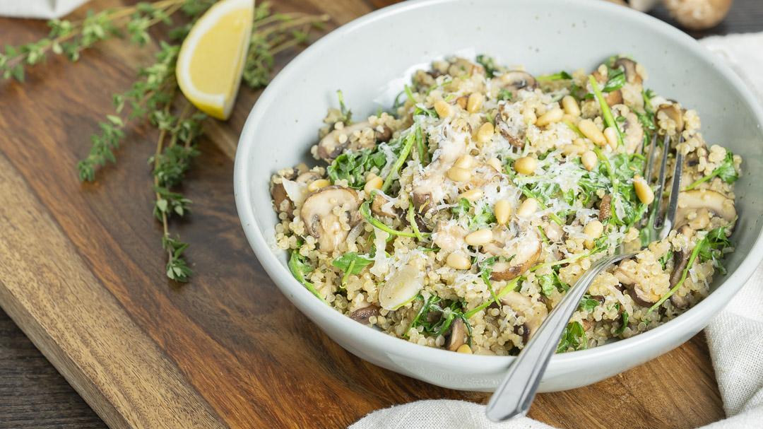Mushroom and Arugula Quinoa Bowls
