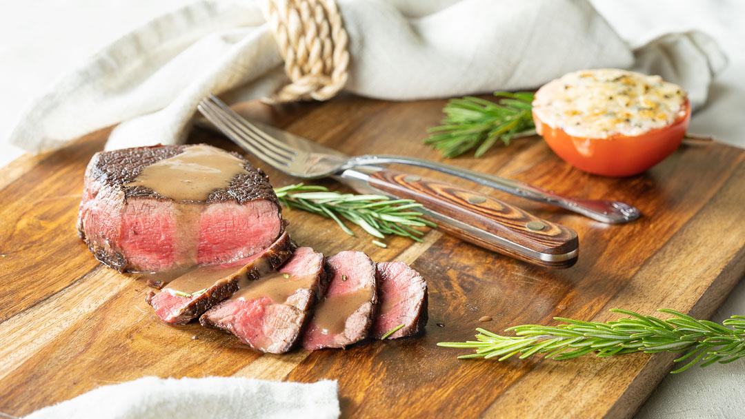 Steak with Balsamic Butter Sauce