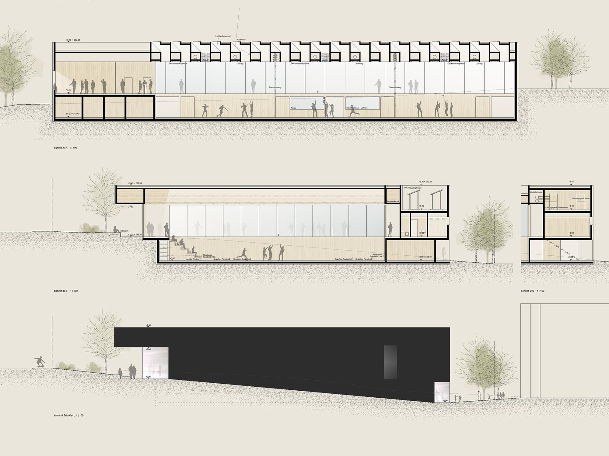 1. Preis Neuplanung Einer Sporthalle Alter Postweg Competitionline