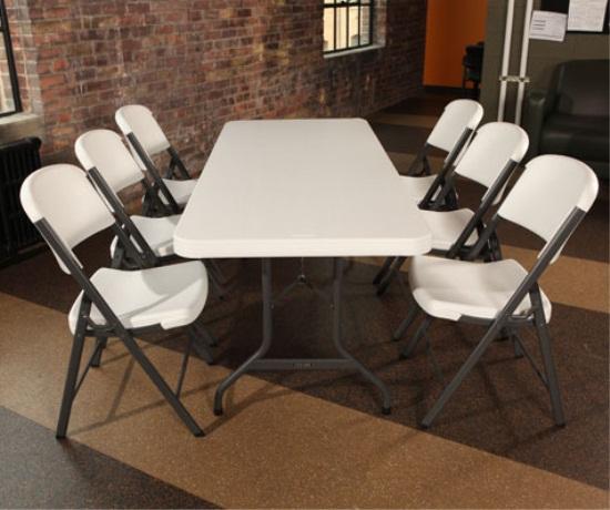 Lifetime Folding Table 22901 6Ft White Granite Color 1
