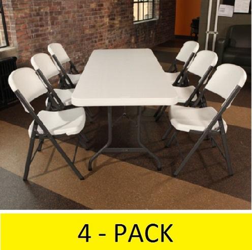 2901 4 PACK Lifetime 6 ft White Granite Folding Tables