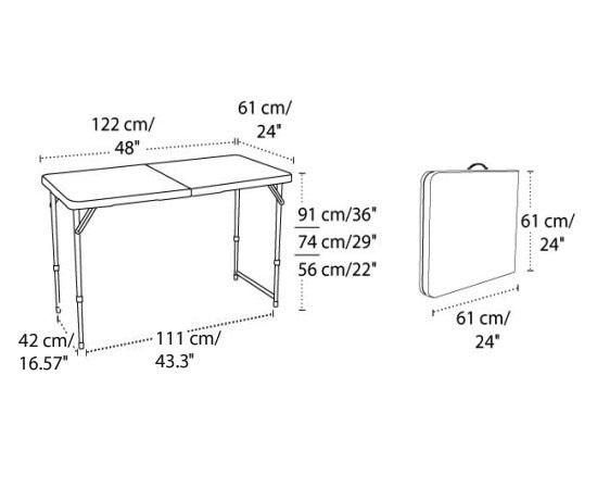 Lifetime AdjustableHeight Folding Table 4428 48x24 Fold