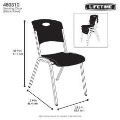 Lifetime Stacking Chairs 2830 Black Molded Seat Cheap Chair Covers Uk Premium 80310