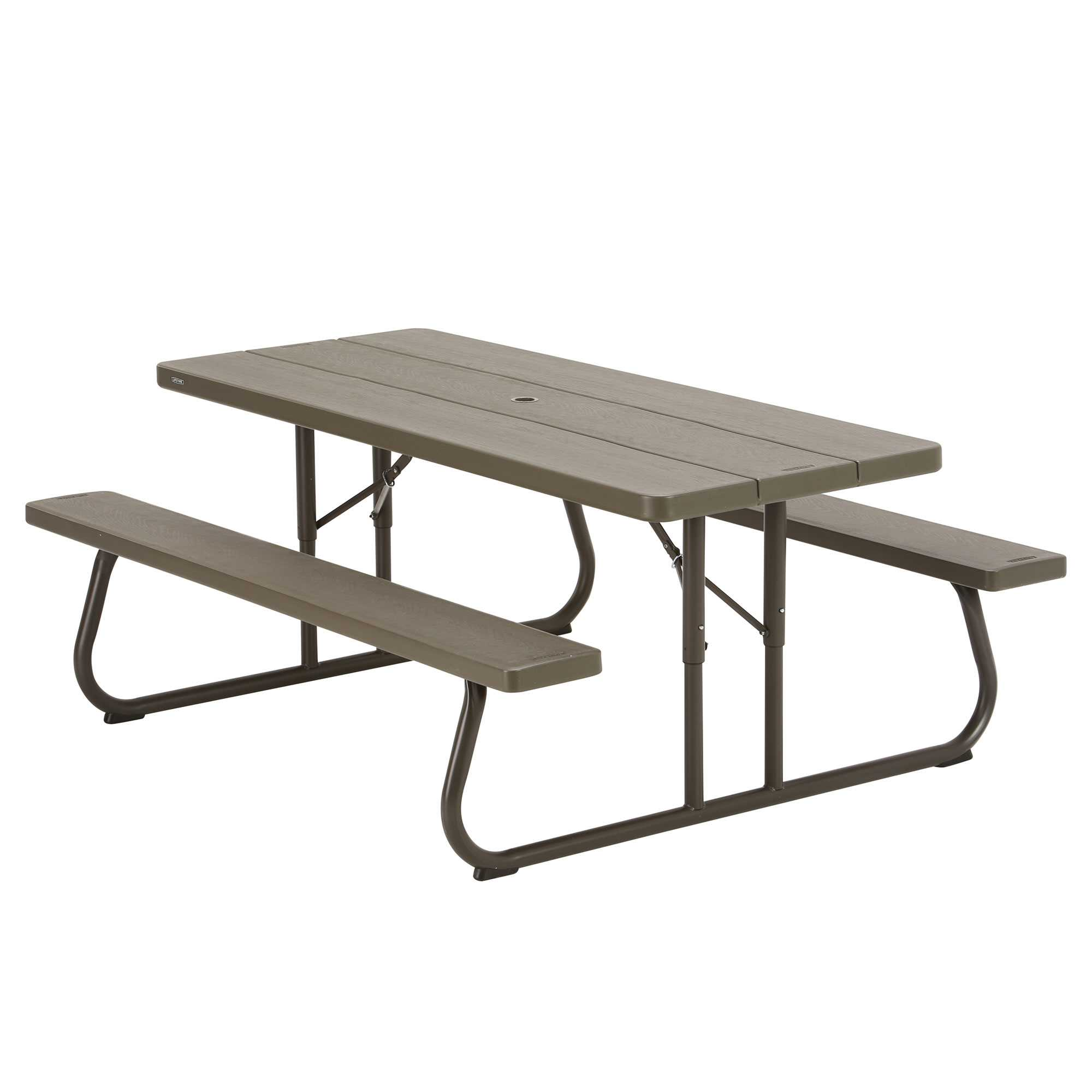 lifetime chairs and tables coleman sling chair brown plastic folding picnic table 10 pack on