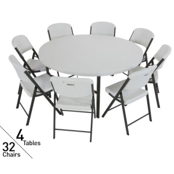 tables and chairs hanging lounge chair canada 4 pack lifetime 60 in round 32 package white video assets images 80146 jpg
