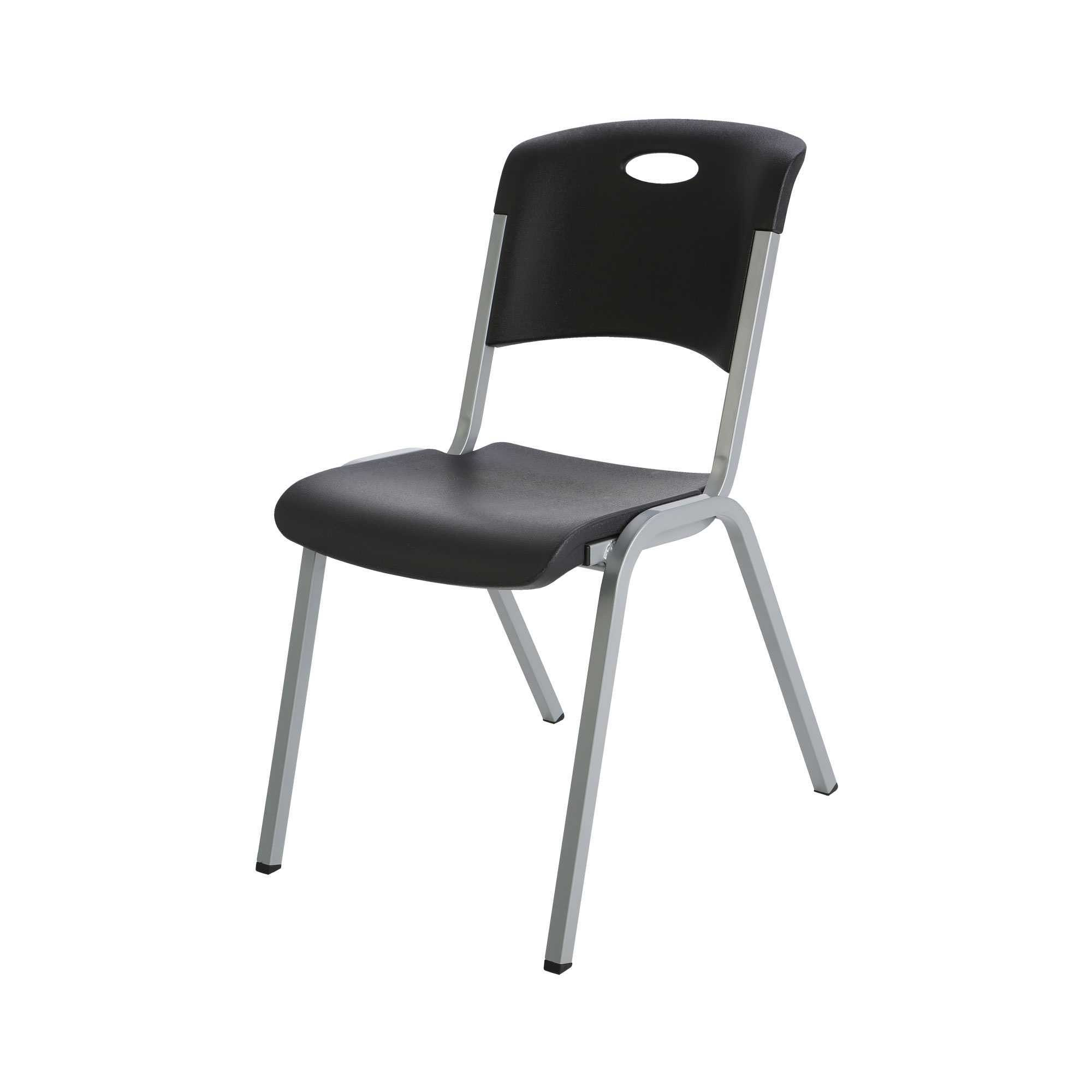 lifetime stacking chairs 2830 black molded seat silver dining and table premium chair 80310