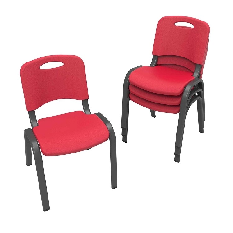 Lifetime Childrens Red Stacking Chairs 80352 4 Pack
