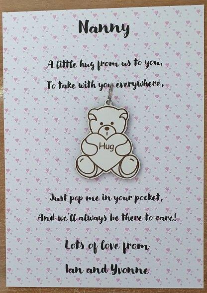 Nanny Pink hearts hug note