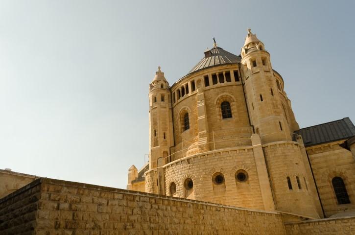 Exterior de Dormition Abbey o Abadía de Hagia Maria, Ciudad Vieja de Jerusalén.