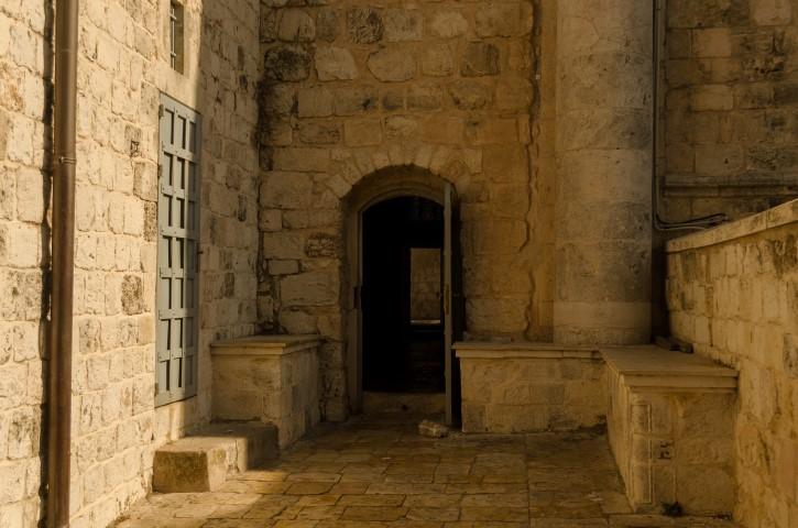 Entrada a el Cenáculo, Ciudad Vieja de Jerusalén.