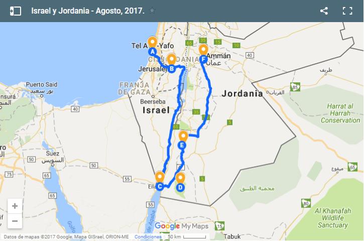 Mapa de itinerario por Medio Oriente